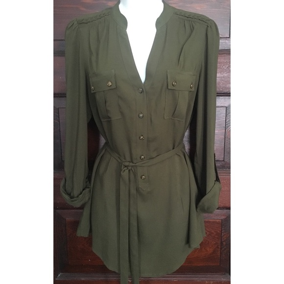 Anthropologie Odille Military Brass Button Top 8